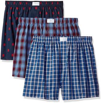 Tommy Hilfiger Men's Underwear 3 Pack Cotton Classics Woven Boxers Red Plaid Logo Print/Blue Plaid Medium