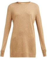 Bottega Veneta Round-neck Cashmere Sweater - Womens - Camel