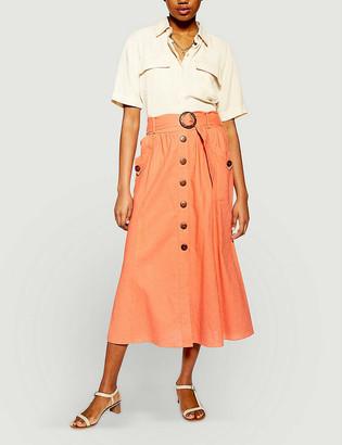 Topshop Belted high-waist linen-blend midi skirt