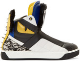 Fendi Black Fur Bugs High-Top Sneakers