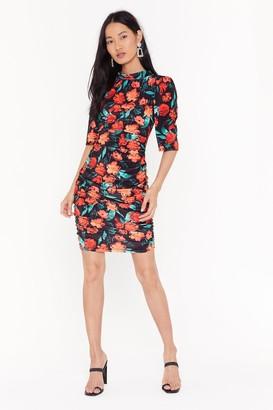 Nasty Gal Womens Anything Bud the Truth Floral Velvet Mini Dress - Blue
