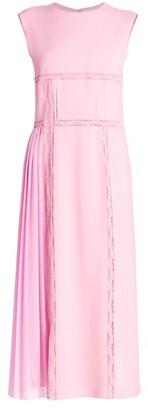 Chloé Sleeveless Pleat Crepe Midi Dress