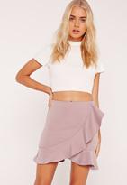 Missguided Frill Detail Scuba Mini Skirt Lilac