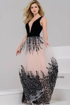 Jovani Plunging Long Dress with Floral Skirt 42420
