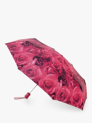 Fulton Photo Rose Print Telescope Umbrella, Magenta