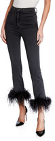 Veronica Beard Jeans Kareena High-Rise Skinny Jeans w/ Feathers