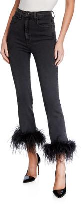 Veronica Beard Kareena High-Rise Skinny Jeans w/ Feathers