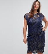 Paper Dolls Plus Metallic Crochet Sleeveless Plunge Back Pencil Dress