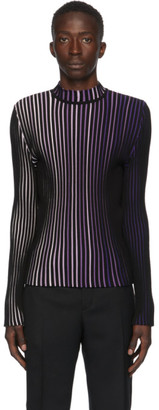 Paco Rabanne Black and Purple Striped Turtleneck