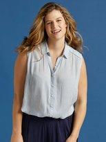 M&Co Plus pinstripe sleeveless shirt