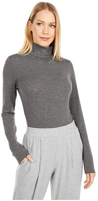 Michael Stars Tahoe Jersey Jojo Turtleneck w/ Ruched Sides (Charcoal) Women's Clothing