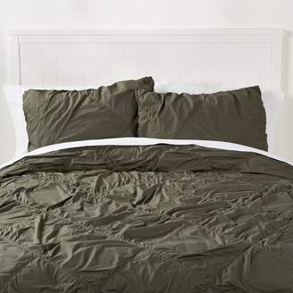 Pottery Barn Teen Ruched Diamond Organic Sham, Standard, Army Green