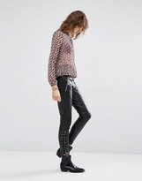 Maison Scotch Leather Pants With Lace Up Details
