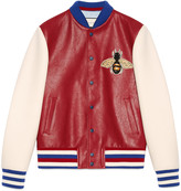 Gucci Leather and felt bomber with embroideries