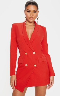 UNIQUE21 Red Gold Button Blazer Dress