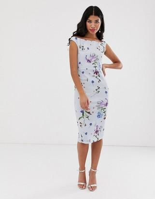 True Violet floral off the shoulder midi dress