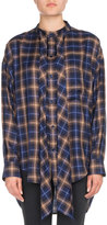 Balenciaga Plaid Long-Sleeve New Swing Blouse with Logo
