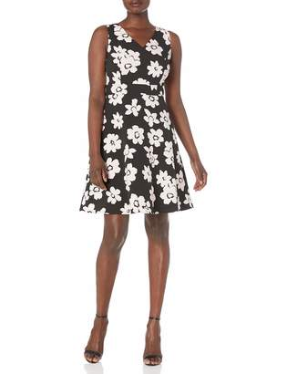 Nine West Women's Sleeveless Floral Printed Crepe A-LINE Dress
