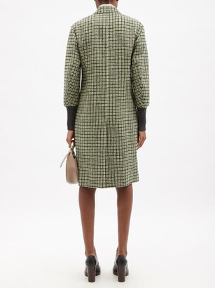 Chloé Ribbed-cuff Check Double-breasted Wool-blend Coat - Green Multi