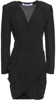 IRO Fling Wrap-effect Pleated Silk-crepe De Chine Mini Dress