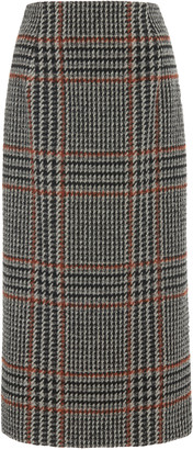 Oscar de la Renta Plaid Wool-Alpaca Blend Midi Skirt