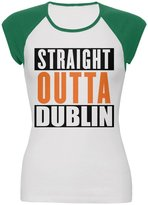 Old Glory St Patricks Straight Outta Dublin Juniors Cap-Sleeve Raglan T-Shirt