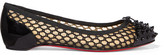 Christian Louboutin Mix Spiked Patent-leather And Embroidered Mesh Point-toe Flats - Black