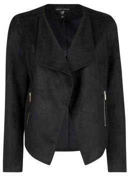 Dorothy Perkins Womens Black Suedette Waterfall Jacket, Black