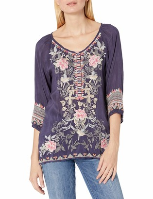 Johnny Was Women's Scoop Neck Peasant Blouse with Contrast Embroidery