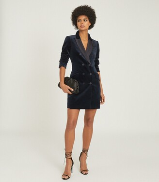 Reiss Karlie - Velvet Tuxedo Dress in Navy