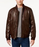 Andrew Marc Men's Gustavus Evergrain Leather Baseball Jacket