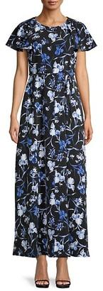 Tommy Hilfiger Floral Flutter-Sleeve Long Dress