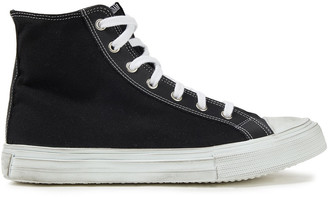 IRO Distressed Cotton-canvas High-top Sneakers