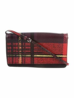 Prada Tartan Saffiano & Tessuto Crossbody Bag Black