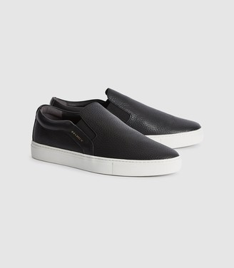 Reiss Weston - Leather Slip On Trainers in Black