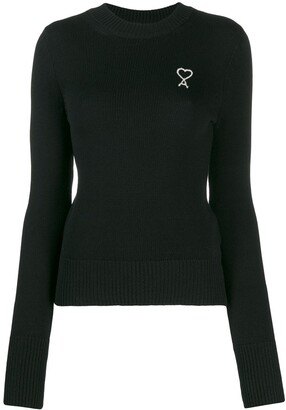 AMI Paris Embroidered Logo Crew-Neck Jumper