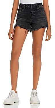 Alexander Wang Bite Back-Zip Jean Shorts in Gray Aged