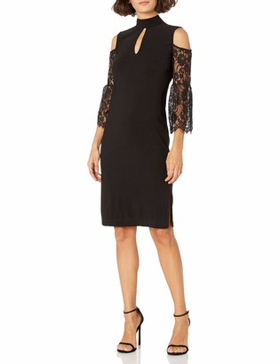 Love Scarlett Women's Petite Lace Bell Sleeve Sheath Dress