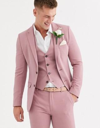 Asos DESIGN wedding super skinny suit jacket in crosshatch in rose pink
