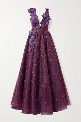 Marchesa Appliqued Embellished Crinkled-organza Gown - Violet