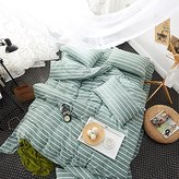 Green Striped Printed Duvet Cover Set Queen Size, Luxurious, Comfortable, Soft and Warm for Adults Kids Students Girls Boys, 100% Washed Cotton Modern Reversible Bedding Collection
