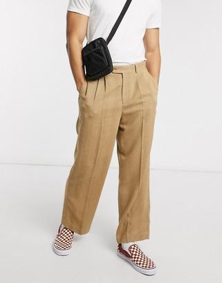 ASOS DESIGN high waist wide leg smart trouser in camel herringbone
