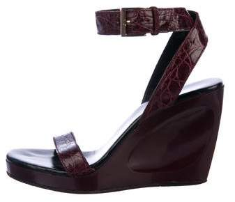 Gucci Leather Ankle Strap Wedges