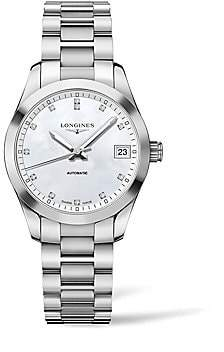 Longines Men's Conquest Classic Diamond, Mother-Of-Pearl & Stainless Steel Watch