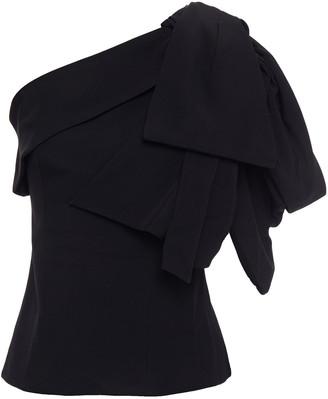 Balmain One-shoulder Bow-detailed Crepe Top