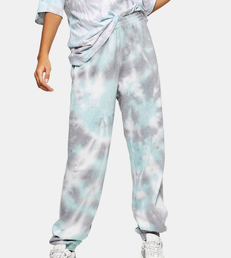 Topshop Tall tie dye joggers in blue