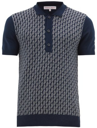 Orlebar Brown Rushton Intarsia-knit Cotton Polo Shirt - Mens - Navy White