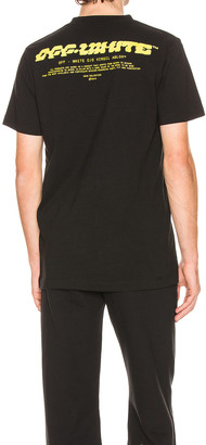 Off-White Disrupted Font Short Sleeve Tee in Black & Yellow | FWRD