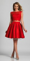 Dave and Johnny Two Piece Lacey Cap Sleeve Pleated Cocktail Dress
