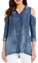 William Rast Izzy Americana Star Patch Cold Shoulder Button-Front Top